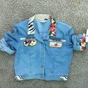 Nancy Bolen Floral Denim Classic Jacket Size 12-C6